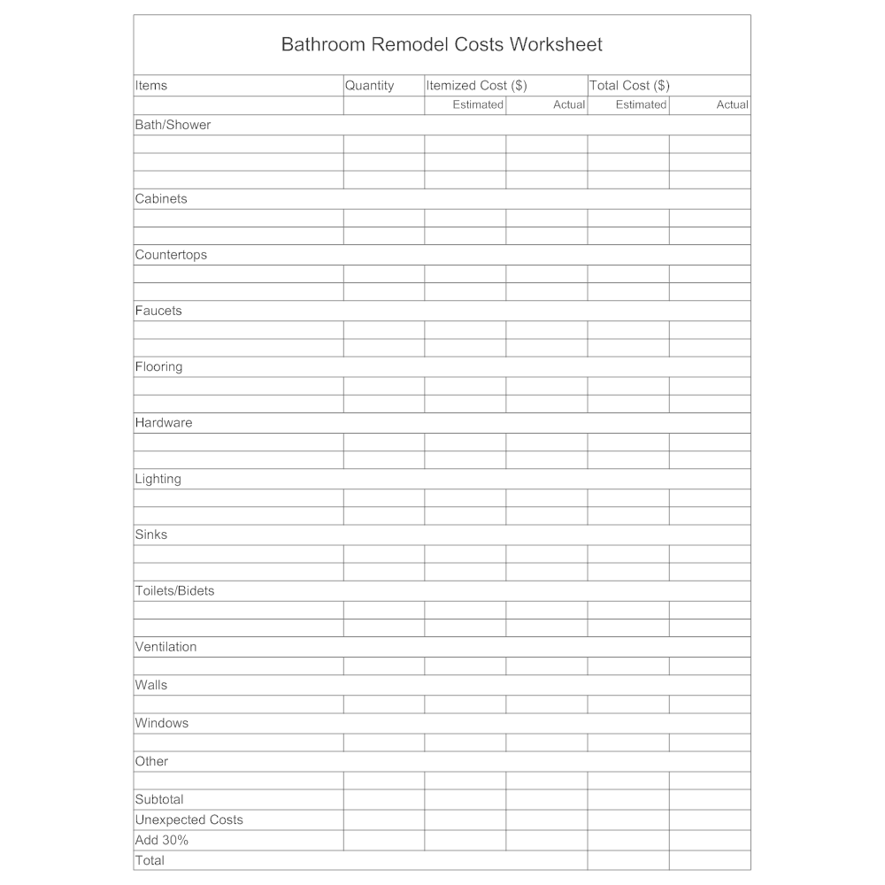 text in this example bathroom remodel costs worksheet - Bathroom Remodel Estimate Example