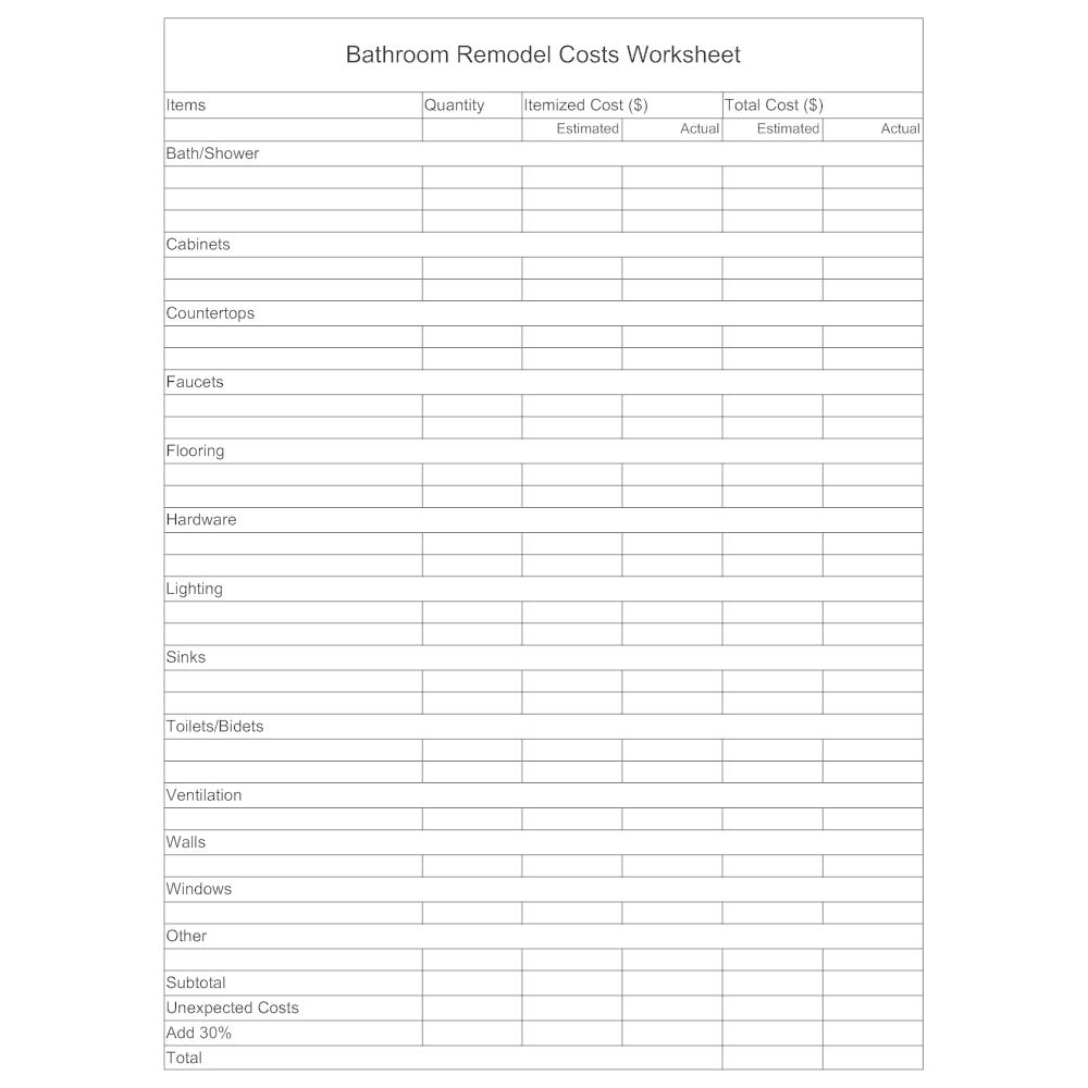 Example Image: Remodel Worksheet - Bathroom