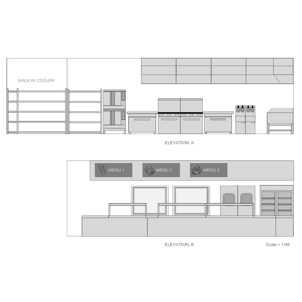 Example Image: Restaurant Kitchen Elevation Plan