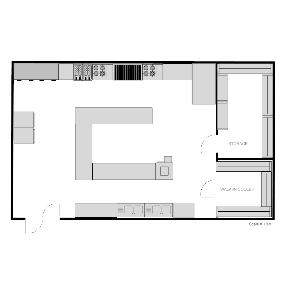 Restaurant kitchen floor plan for Blueprint drawing program