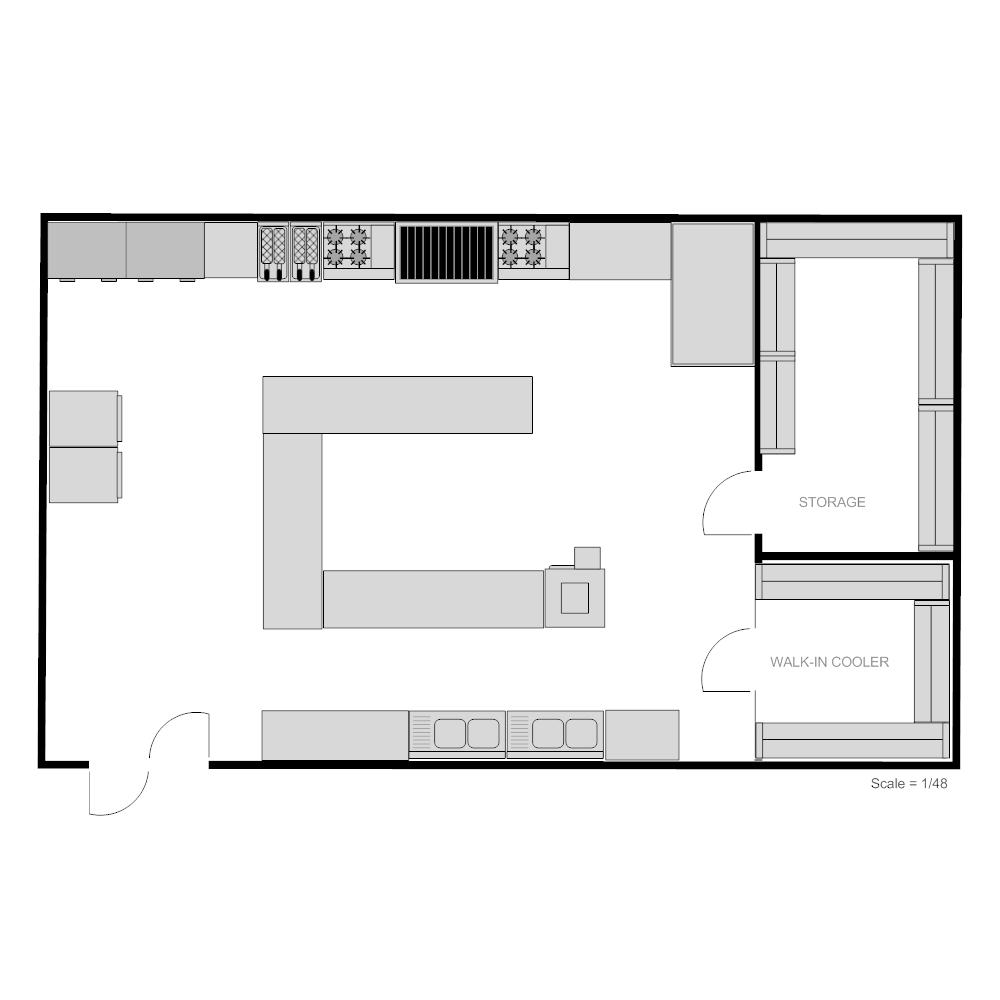 Industrial Kitchen Dimensions: Restaurant Kitchen Floor Plan