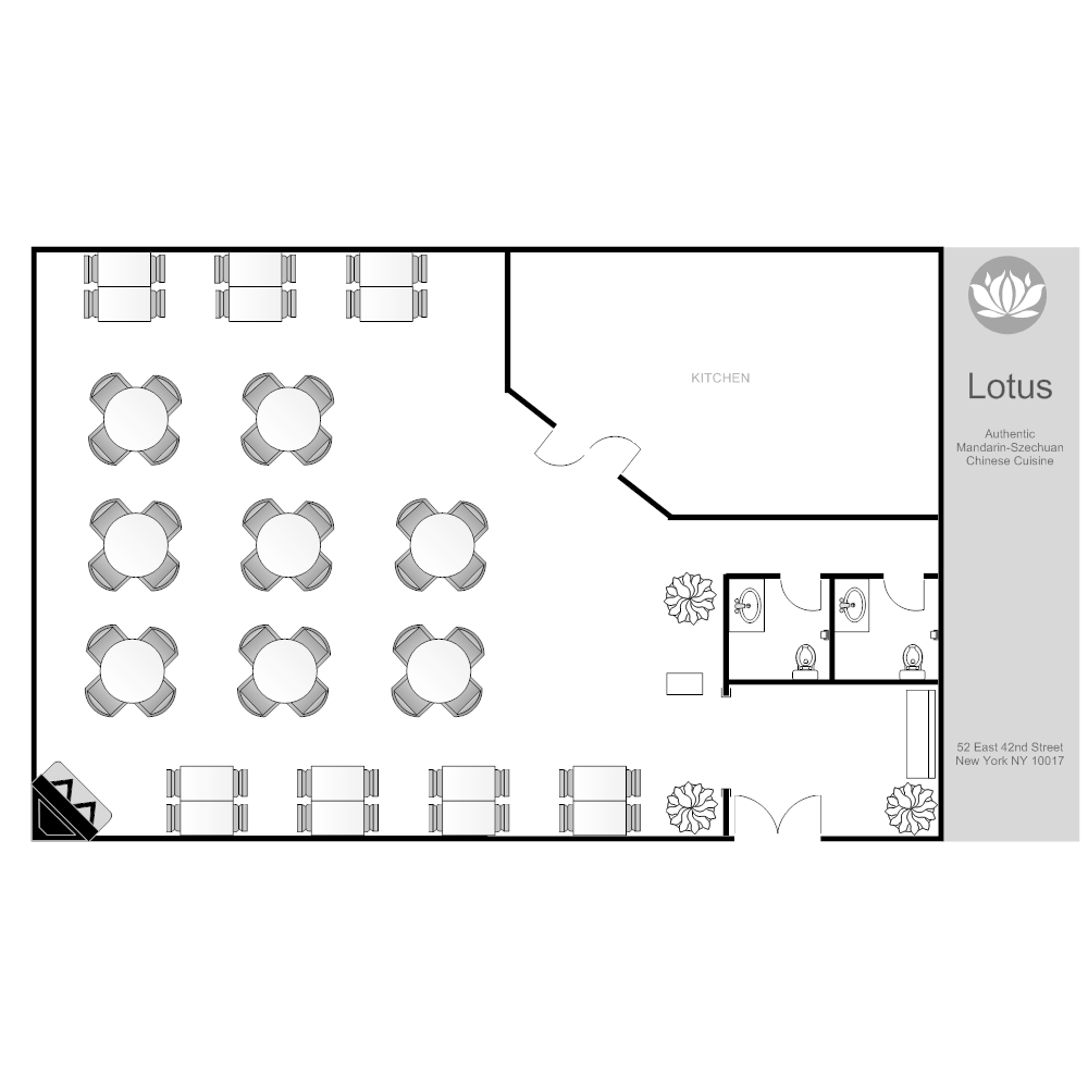 Restaurant layout for Floor plan examples