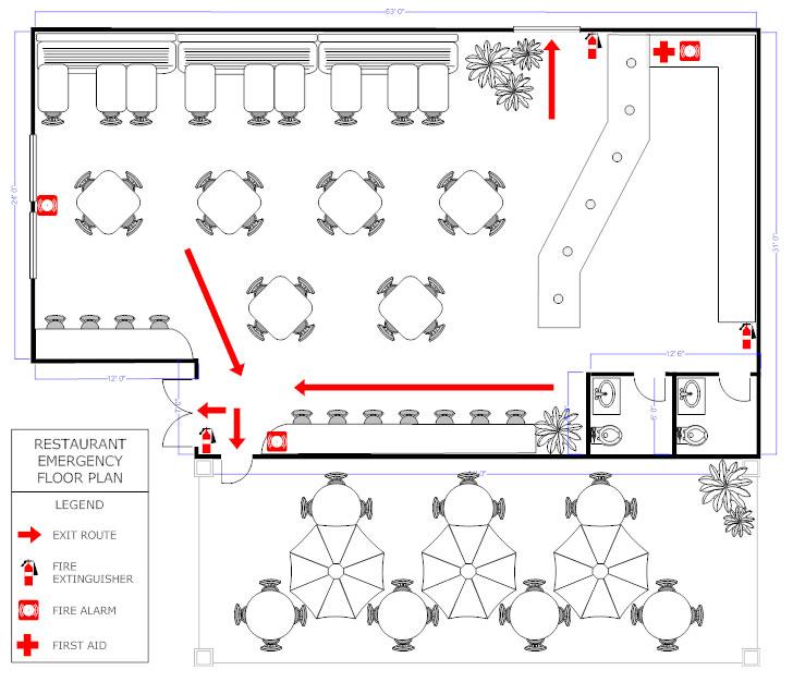 Restaurant evacuation floor plan