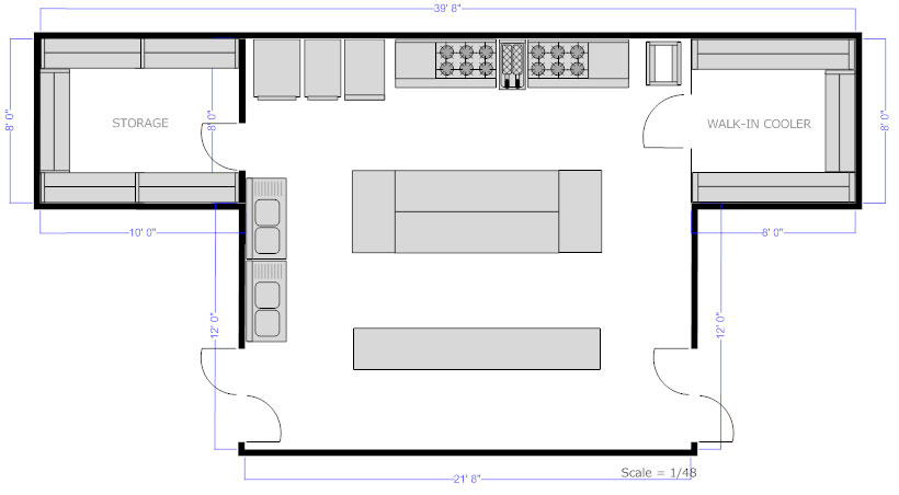 Restaurant floor plan how to create a restaurant floor plan Commercial kitchen layout plan