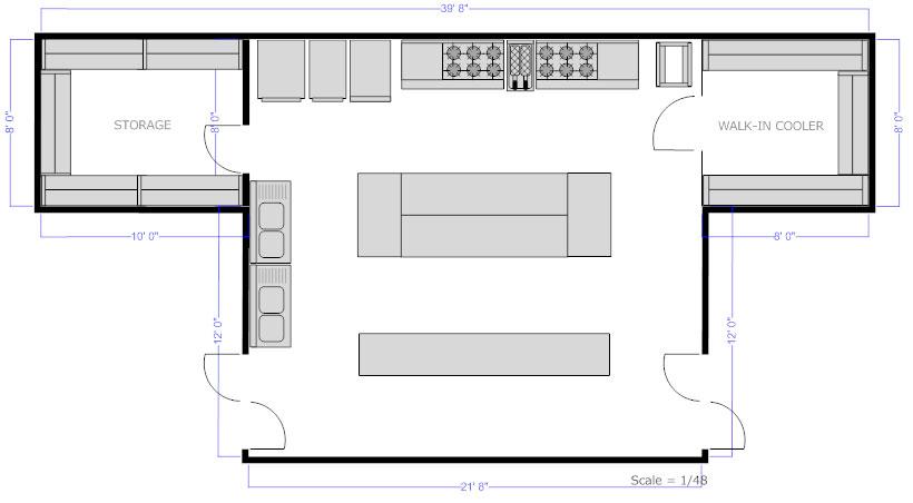Restaurant kitchen floor plan