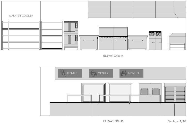 Restaurant kitchen elevation plan