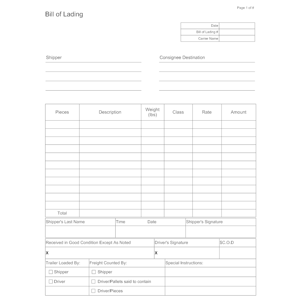 Example Image: Bill of Lading