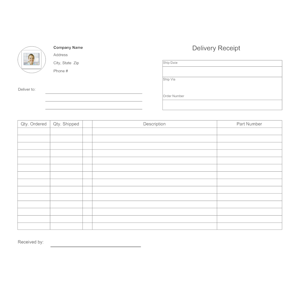 Example Image: Delivery Record Form