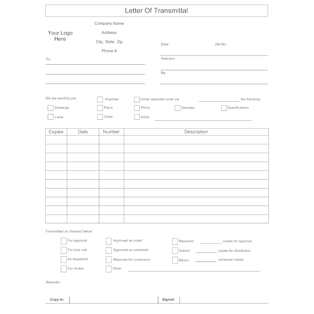 Letter of Transmittal Form – Transmittal Letter Template