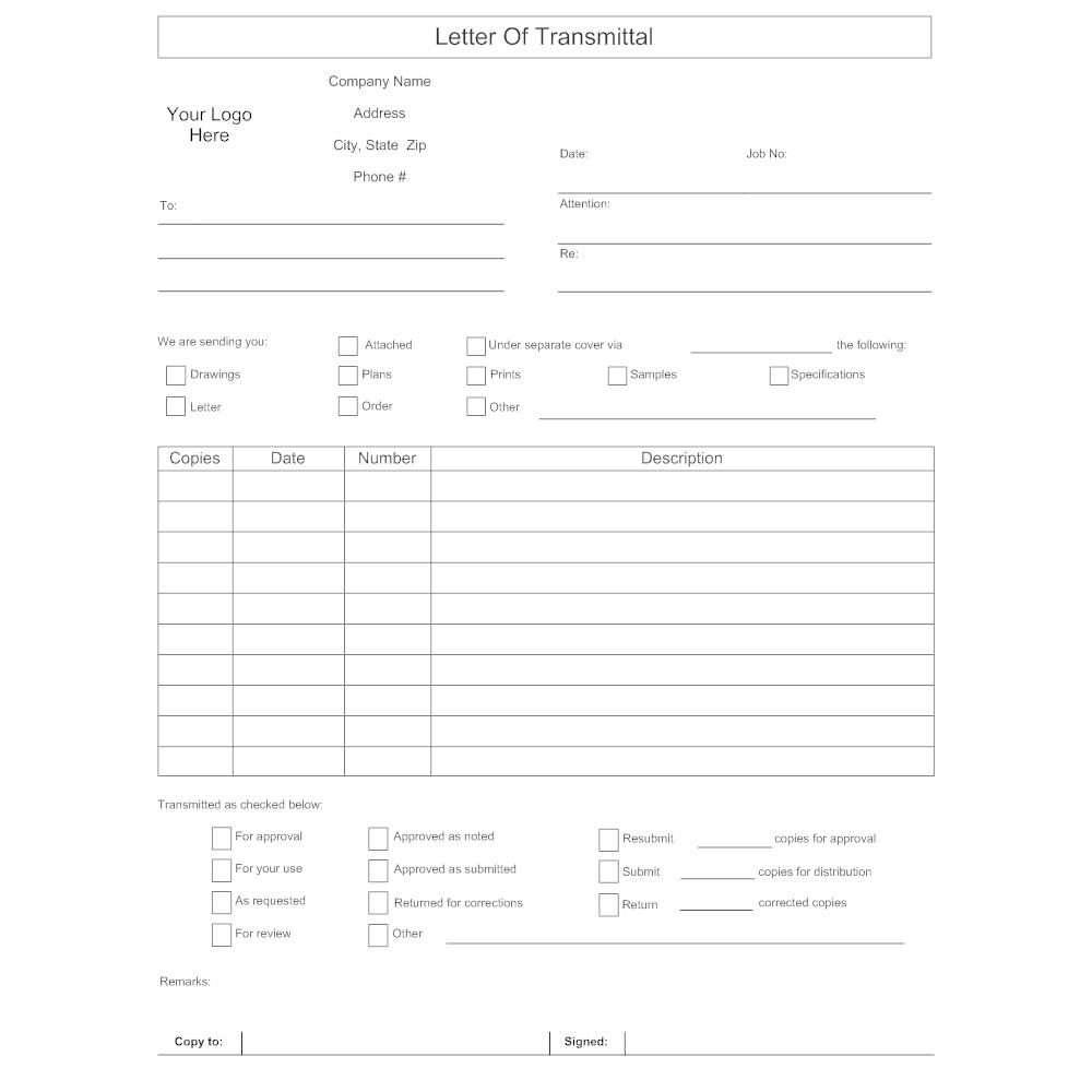 Letter of Transmittal Form – Transmittal Format