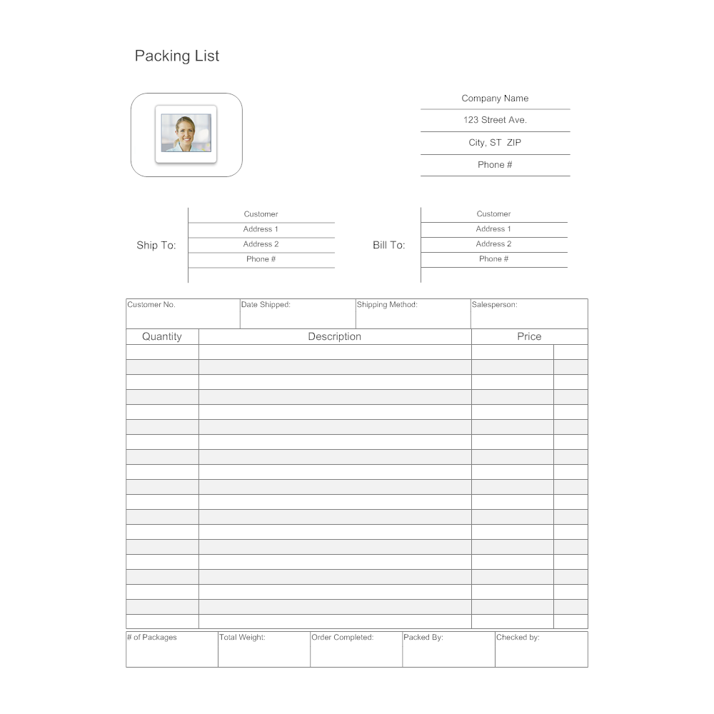 Packing List Template – Shipping Packing List Template