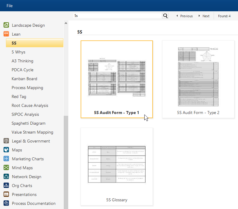 5S Diagrams and Templates - Free 5S Audit Form Software