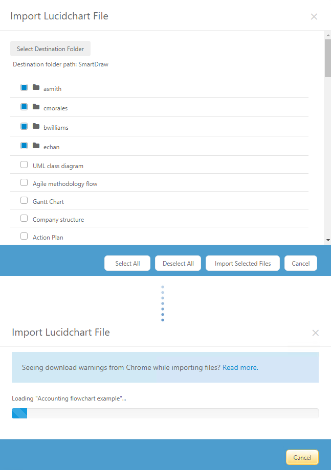 Import all folders and files from Lucidchart
