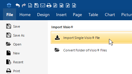 import single visio file - Convert To Visio