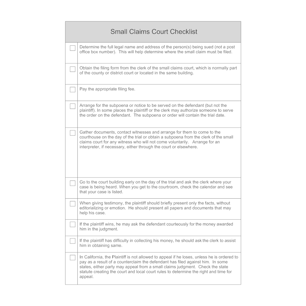 Example Image: Small Claims Court Checklist