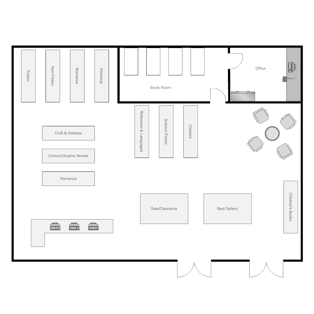 Bookstore layout for Draw layout warehouse