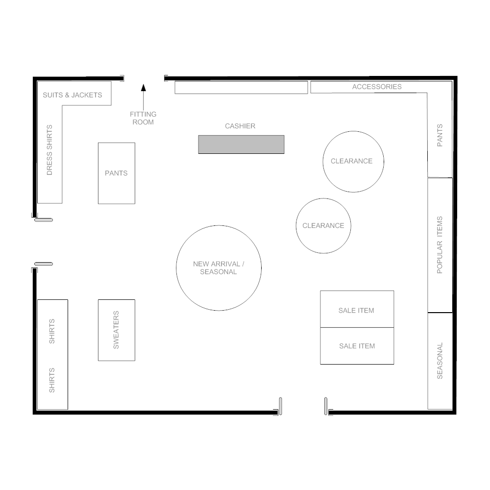 Great CLICK TO EDIT THIS EXAMPLE · Example Image: Boutique Floor Plan