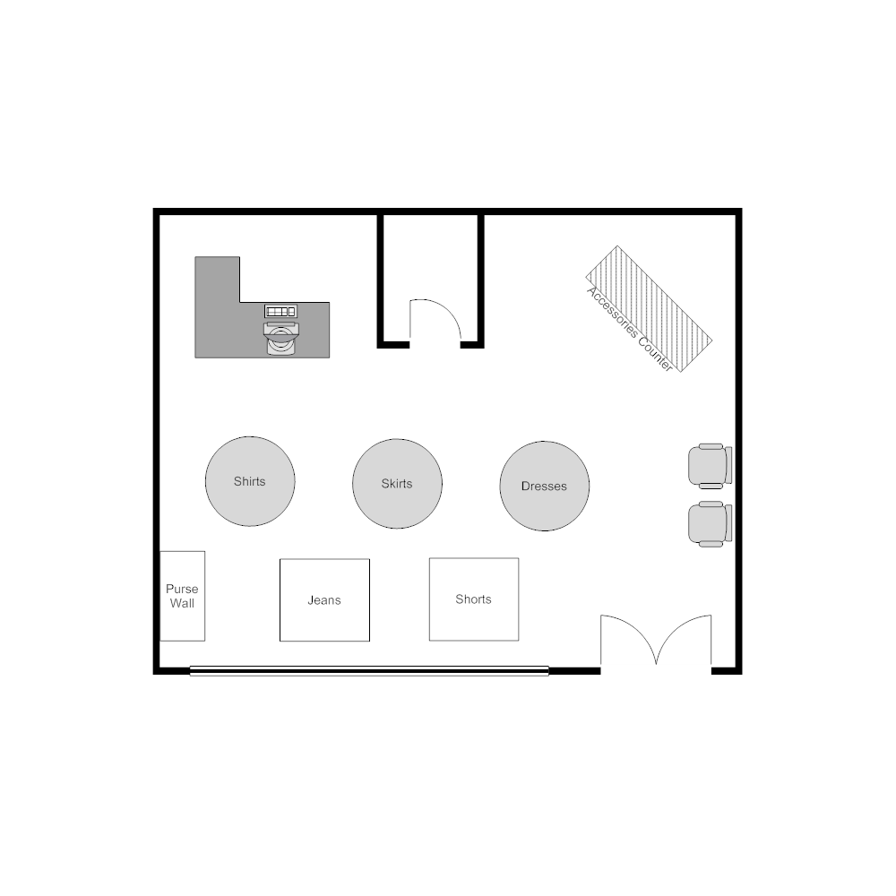 CLICK TO EDIT THIS EXAMPLE · Example Image: Clothing Store Layout