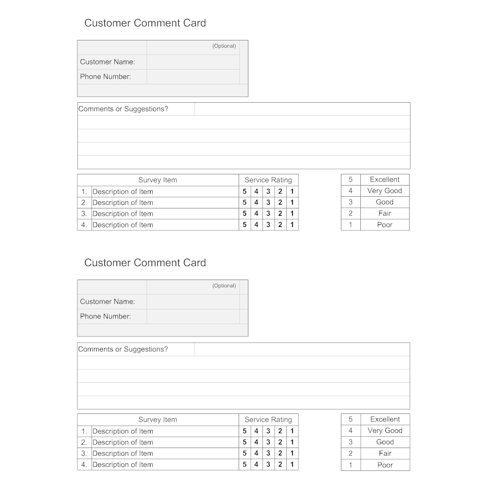 Comment: Customer Comment Card