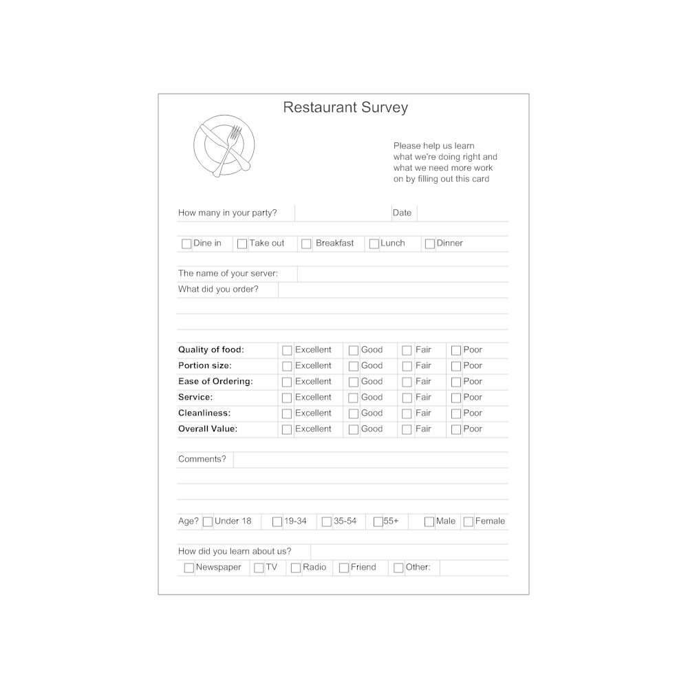 Example Image: Restaurant Survey Form