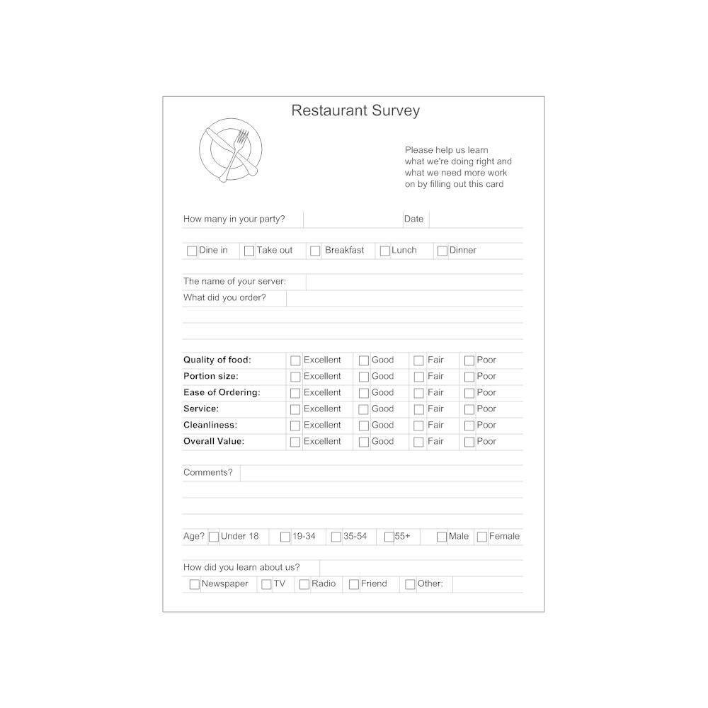 Example Image: Restaurant Survey Form
