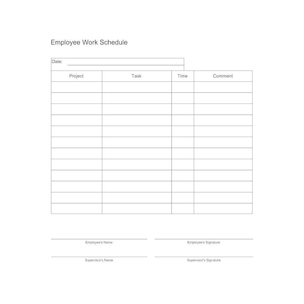 Employee Work Schedule Form – Employee Schedule Template