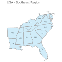US Map Examples - Southeast region us map