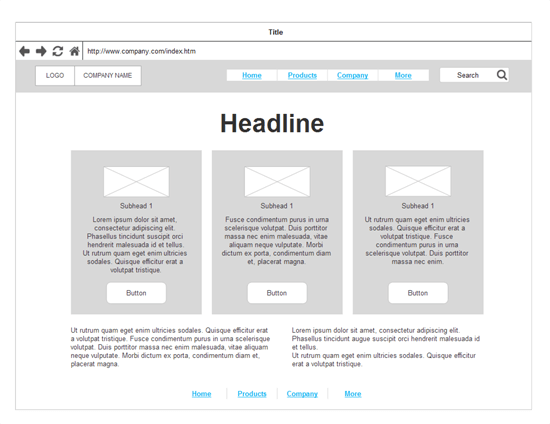 Website wireframe example