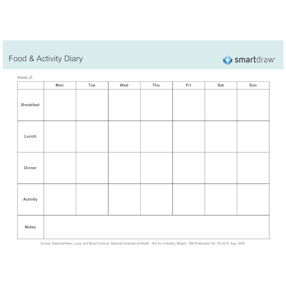 Example Image: Food & Activity Diary