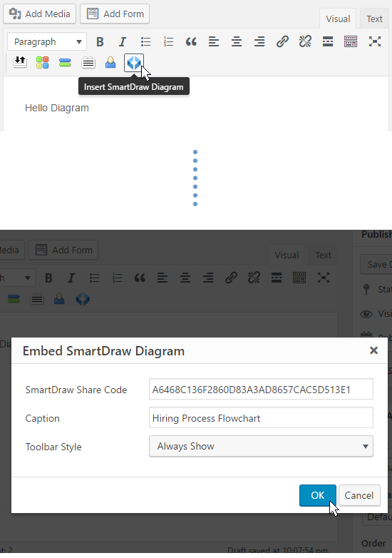 Insert diagram into Wordpress