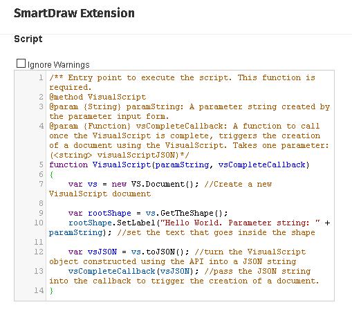 JavaScript Extension code