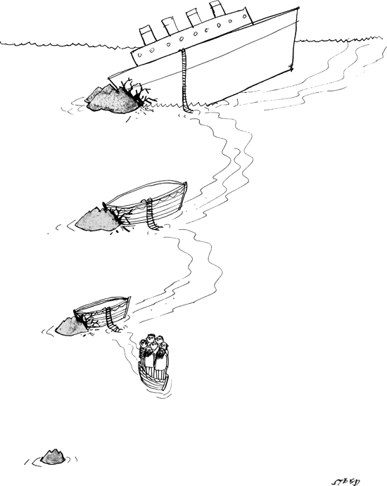 New Yorker cartoon - Ships sinking
