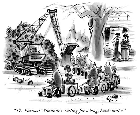 New Yorker Cartoon - Farmer's Almanac is calling for a long, hard winter
