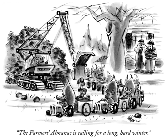 New Yorker Cartoon - Farmer's Almanac is calling for a long, hard winter